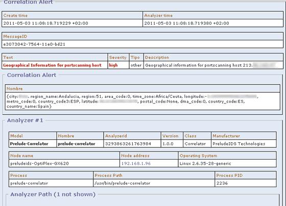 alert Detail para informacion geografica porscan prelude correlator y prewikka